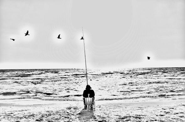 דייג על החוף